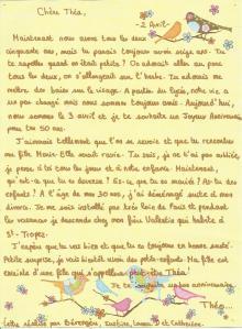 Lettre de Théo à Théa sur Théa pour l'éternité